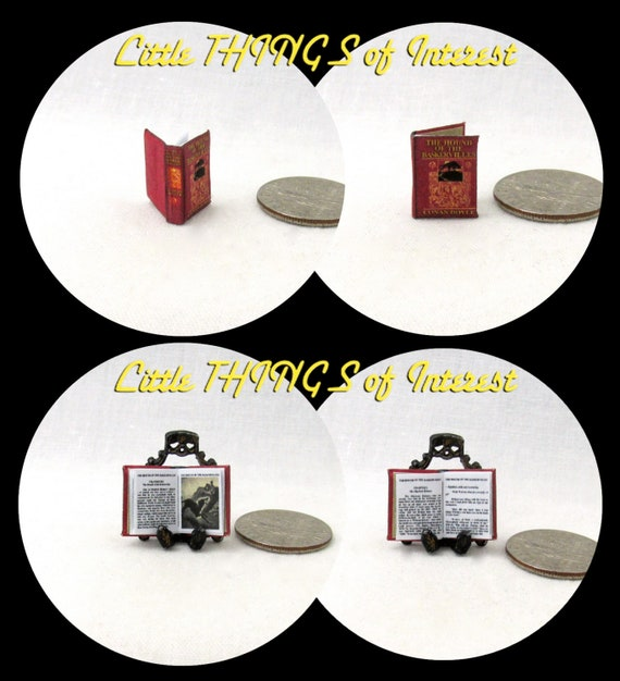 1:24 Scale Book THE HOUND Of The BASKERVILLES Sherlock Holmes Dollhouse Miniature Book Half Inch Scale
