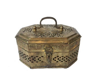 Vintage Ornate Embossed and Piereced Brass Octagonal Cricket Box