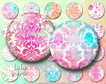 Digital Collage Sheet; White and Neon Circles, 1 inch circle images, Pendant Images, Round images, printable pendant images, bottlecap, boho