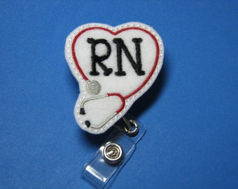 RN Name Badge Reel with Clip