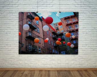 Street Art, City Poster, Balloon Art, City Photography, Quebec, Colorful, Balloon Print