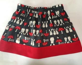 Grey and Red Rabbit Handmade Children's Skirt