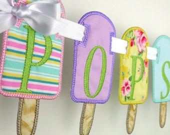 "Popsicle Banner In The Hoop Project Machine Embroidery Design Applique Patterns in 7 sizes 4"", 5"", 6"", 7"", 8"", 9"" and 10"""