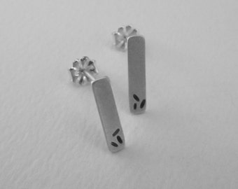 Tiny Rectangle Earring Studs eco friendly silver modern minimalist 3 seeds