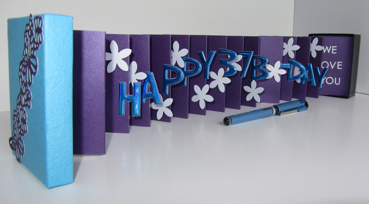 Happy 37th birthday wishes pop up accordion book card in a zoom m4hsunfo