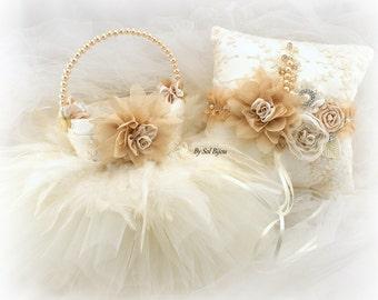 Ring Bearer Pillow, Flower Girl Basket, Champagne, Tan, Gold, Beige, Ivory, Vintage Wedding, Tutu Flower Basket,Lace Basket,Lace Ring Pillow
