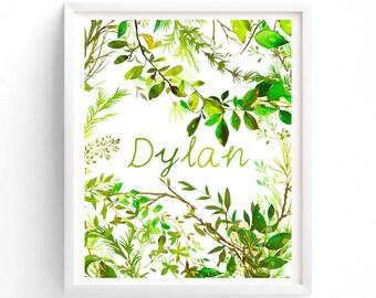 Art Prints, Boy Or Girl Custom name, Monogram, Forest Tangle, Woodland Baby Nursery Printable,  Botanical 8 x 10 print art