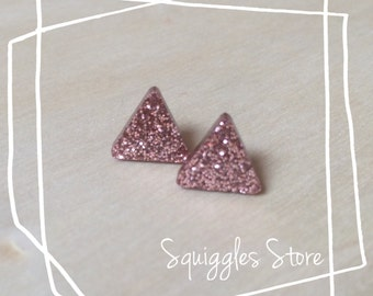 Stud Earrings with Titanium Posts - Copper Triangle Bronze Shimmer Metallic - Sensitive Ears