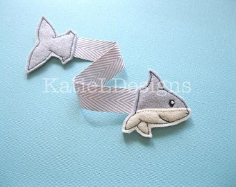 ITH Shark Bookmark Embroidery Design Pattern Download In The Hoop Ocean Sea Back to School Felt Ribbon