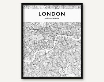 London Map Print, London Poster, London Wall Art, London City Map, Black