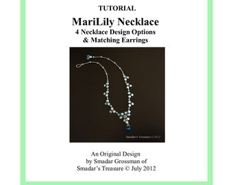 Beading Tutorial, MariLily Necklace in 4 Variations. Pattern with Lentil and Crystal Beads. PDF File Beadweaving Instructions. Beadwork