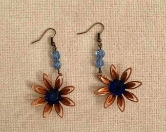 Upcycled vintage floral earrings