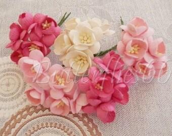 100 Mixed Pink White Handmade Mulberry Paper Flowers DIY Wedding bouquet Craft Sakura S00 FREE SHIPPING