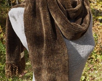 Handwoven Chenille Scarf in Brown for Men or Women