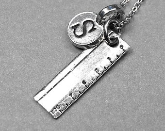 Small Ruler Charm Necklace silver plated pewter, initial necklace, initial hand stamped, personalized, monogram