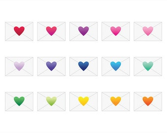 Heart Sealed Envelope Cip Art Set | Cute Love Symbol Gradient Graphic | Digital Illustration Stock Icons | Personal or Commercial Use