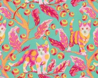 FREE SPIRIT Tabby Road PWTP092-STRA Strawberry Disco Kitty by Tula Pink