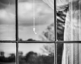 Black and White Photography - Window Print - Northern Ireland Stately Home Art - Castle Coole Curtained Window - Inside Out Reflections