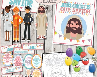 "LDS March 2018 Sharing Times Week 4: ""Jesus Christ is our Savior"" with Title Poster, Savior Characters,Resurrection Eggs Easter Story & more"