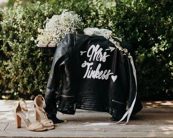 Custom (VEGAN) Leather Jacket for Wedding with Removable Art