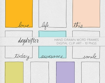 Hand Drawn Word Art Doodle Frames -  Photo Overlays - Digital Scrapbooking Printable Digital ClipArt PNGs -- Commercial Use Instant Download