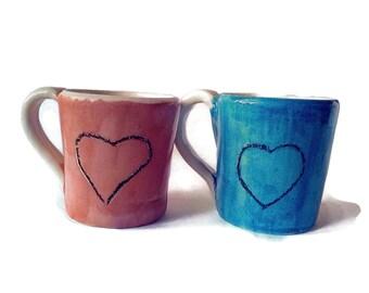 Set of two mugs, newlywed gift for couples, handpainted blue and pink mug set, small heart mug, handmade mug set for Christmas stocking