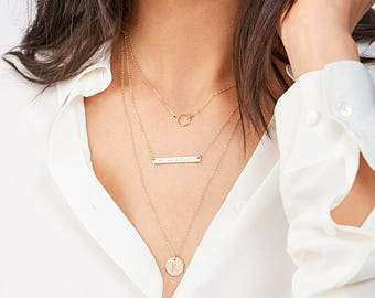 Gold Bar Layered Necklace with Gold Karma Choker Necklace, Delicate Layering Necklace in Silver, Gold Filled