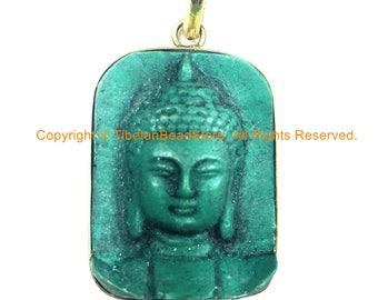 Nepal Tibetan Green Buddha Pendant - TibetanBeadStore Custom Design Buddha Pendant- Handmade Jewelry - Yoga Buddha Meditation -  WM843