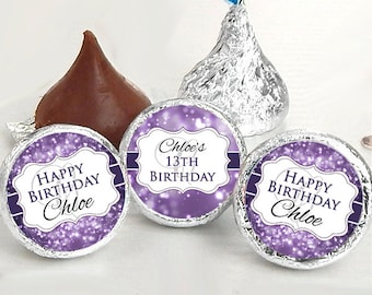 108 Birthday Hershey Kiss® Stickers - Birthday Hershey Kiss Stickers- Purple Birthday Kiss Labels - Hershey Kiss Seals - Candy Stickers