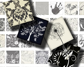 Shades of Black (1) Digital Collage Sheet - dandelion, hand print, trees - 56 different Squares 1 inch for pendant - Buy 3 Get 1 Extra Free