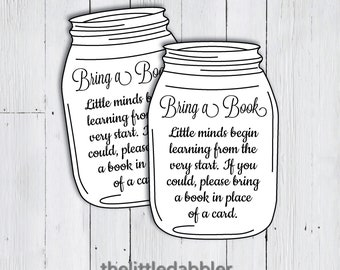 Printable Bring a Book Instead of a Card Mason Jar Rustic Country Baby Shower Invitation Inserts  -- PDF