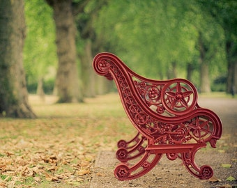 London photography - fall photograph - Your Quiet Moment in London - red,green,8x10