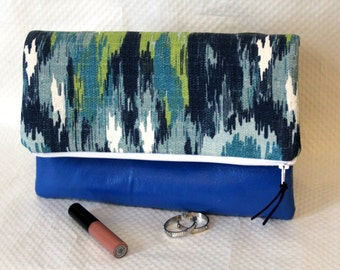 Fold Over Clutch, Blue Foldover Clutch Purse, Zipper Clutch, Summer Clutch, Boho Clutch, Clutch Bag, Gifts, Bridesmaid Gifts, Gift for Her