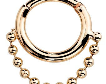 Beaded Chain 14K Gold Dangle & Hinged Style Segment Ring For Cartilage, Septum, Daith