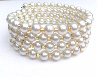 Ivory Pearl Wrap Bracelet, Simple Bridal Jewelry, Plus Size Bracelet, Pearl Bracelet, One Size Jewelry, Wedding Jewelry, Bridesmaids Gift
