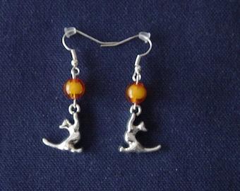 Orange cat 3D ball earrings