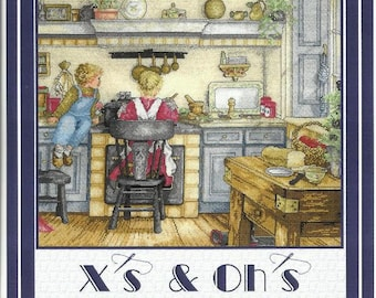 """Vintage Inspired Cross Stitch Pattern HOMEMADE SOUP from X's & Oh's - Old Fashioned Kitchen - Childhood Memories - 20"""" x 16"""" on 14 ct"""