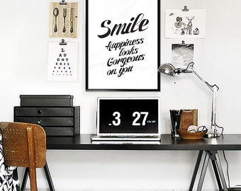 Smile - Happiness looks Gorgeous on you - Inspirational Print Typography Poster - Home Decor Black & White Print bedroom Wall Decor