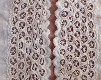 Antique broderie lace beautiful handmade French dress trim, card making, costume design, vintage wedding, bridal cuff, doll clothing,feston