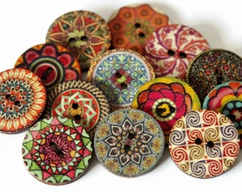 6 Large Printed Buttons - 25mm - Wooden Buttons - Mixed Buttons - Floral Buttons - Flower Printed Pattern  - MDF Buttons - Plywood - PW381