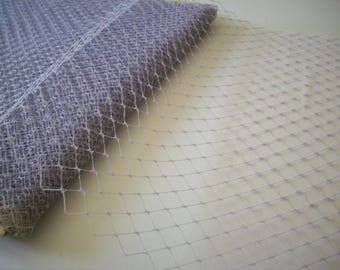 Antique french silk hat veiling in Lavender grey point de esprit
