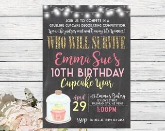 Cupcake War Challenge Personalized birthday invitation- Chalkboard Background ***Digital File*** (Cupcake-ChalkSpring)