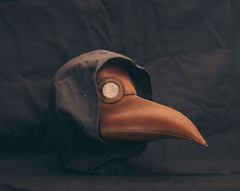 Plague Doctor  Mask Leather  Brown  Medieval Bird Mask, Steampunk Masquerade Halloween Mask
