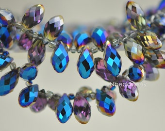 95pcs Teardrop Crystal Glass Faceted beads, 17x8mm Briolette Drop Beads, Sparkly Metal Blue- (HS16-11)