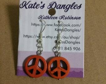 Orange beads, orange earrings, peace earrings, orange peace earrings,  burnt orange jewelery, burnt orange beads, burnt orange