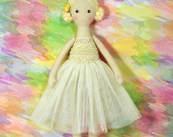ballerina doll, textile doll, rag doll