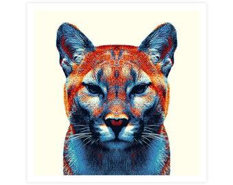 Puma Art Print - Colorful Animals