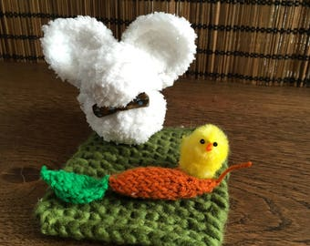 Little white bunny and his carrot on the grass - Hand knitted