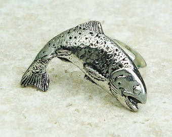 Trout Ring. Antiqued Pewter Silver Plated Ring