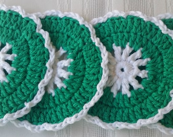 cotton round coasters,4 green coaster set,cotton coasters,crochet coaster,green cotton coasters,red crochet coasters,green houseware kitchen